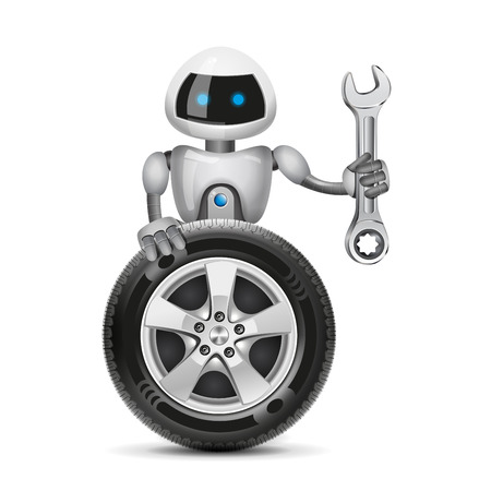 The robot with a car wheel and a spanner, vector