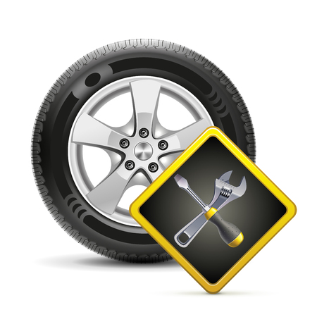 technical service: Car wheel and service sign vector