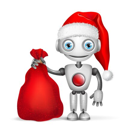 Cute Robot Santa Claus with a bag of gifts Isolated on white background