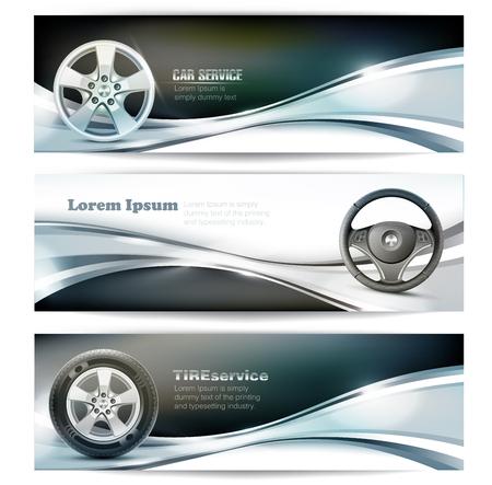 silhouette voiture: Trois bannières élégantes pour le service de voiture