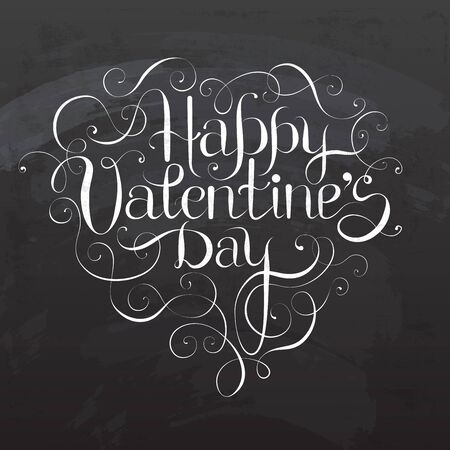 Happy Valentines DAY hand lettering on blackboard - custom handmade calligraphy, vector Ilustração