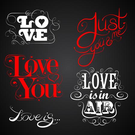 typography signature: Love - set of calligraphic elements, custom handmade calligraphy, vector