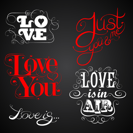 Love - set of calligraphic elements, custom handmade calligraphy, vector