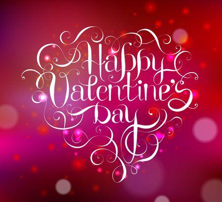 Happy Valentines DAY hand lettering -custom handmade calligraphy, vector Ilustração