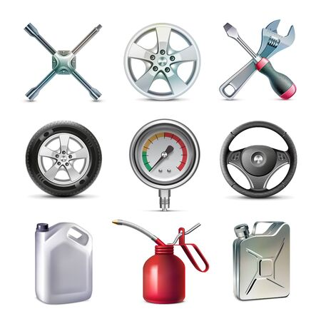 A set of car parts, manometer, tire, container, oiler, wheel, brace, screw Ilustração