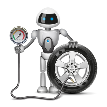 Robot is meassuring preasure in the tyre