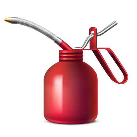 lubricator: Red oil can with flexible spout Illustration