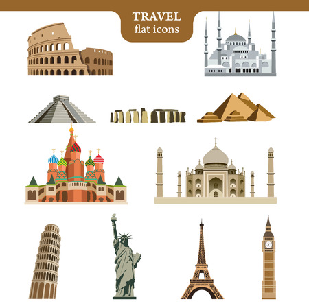 ünlü yer: Set of colorful vector icons of the most famous places in the world on wight background Çizim