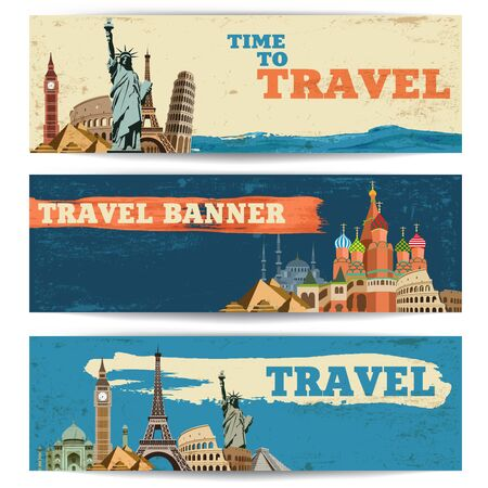 Three type of vector travel baners with different sightseeings