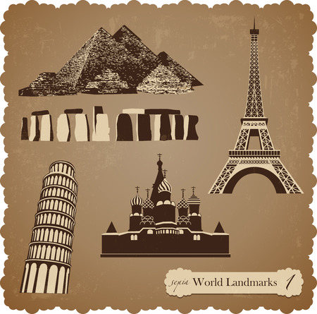Sepia set of vector icons of the most famous places in the world Ilustração