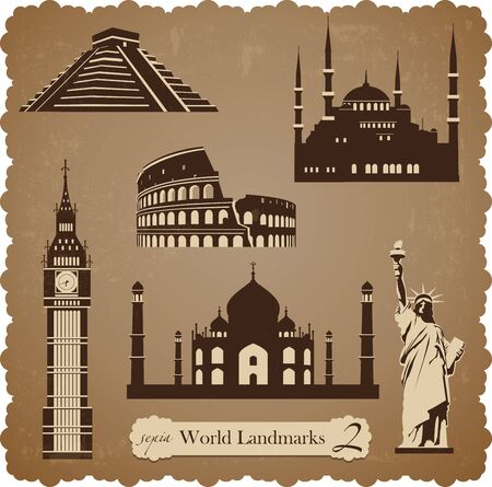 Sepia set of vector icons of the most famous places in the world Ilustrace
