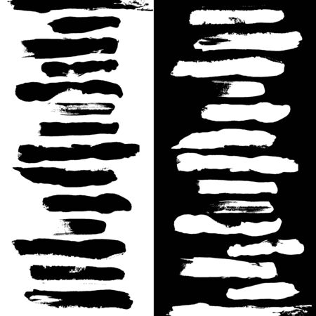 Black and white vector brushes on black and white background
