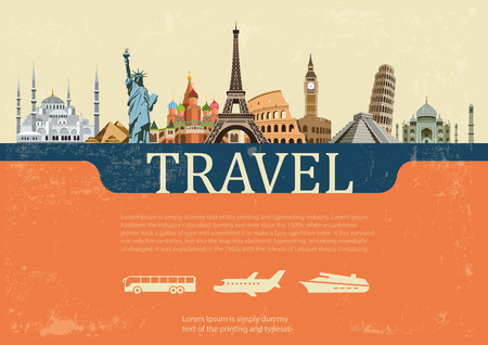 Fond coloré des plus célèbres lieux de la planète les Banque d'images - 48346337