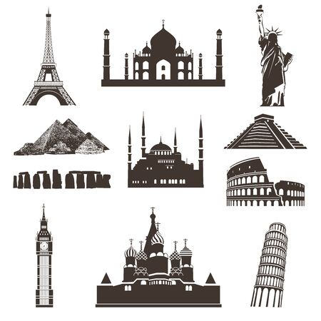 Set of black vector icons of the most famous places in the world on wight background