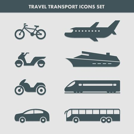Set of eight transport icons for traveling