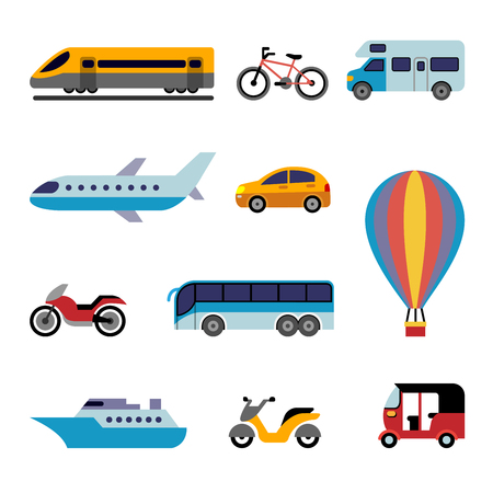 Set of color flat transport icons for traveling