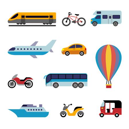 taşıma: seyahat için renkli düz taşıma simgeleri ayarlayın Çizim