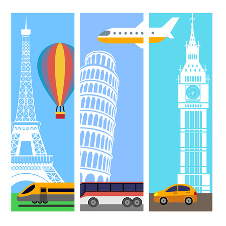 The three color vertical flat travel banners Ilustração