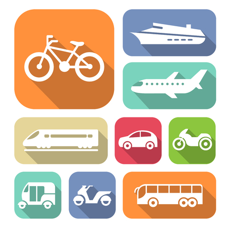Set of simple transport icons for traveling Ilustrace