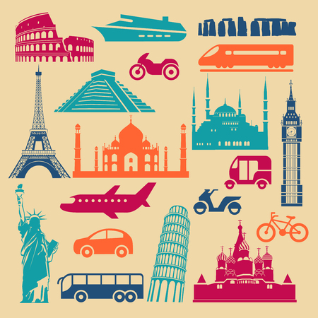 Flat icons of famous landmarks and different transports