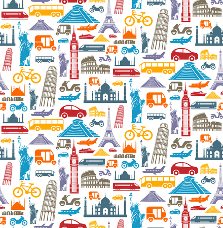 Travel seamless pattern with different landmarks and transport