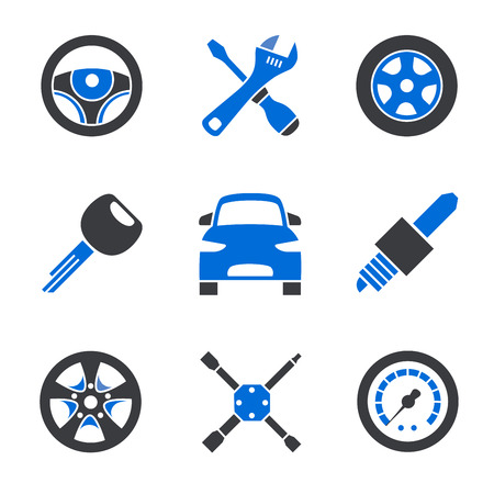 Set of nine simplified different car accessories