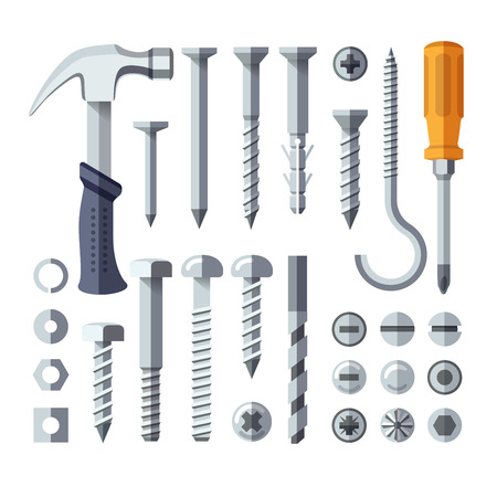 Screws, nuts, nails, rivets, screwdriver and hammer flat icons
