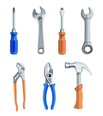 A set of seven different tools for repairs Ilustração