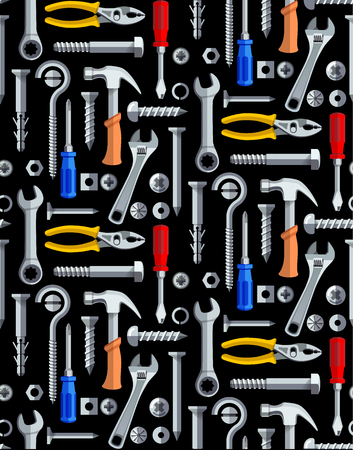 Colorful seamless pattern with tools for construction work