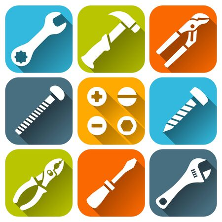 Repair tools, white icons set
