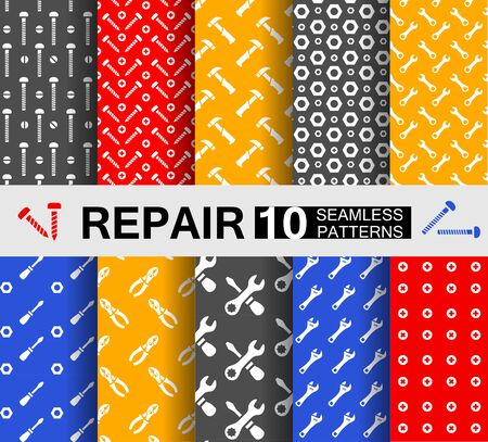 Ten seamless patterns with repair tools
