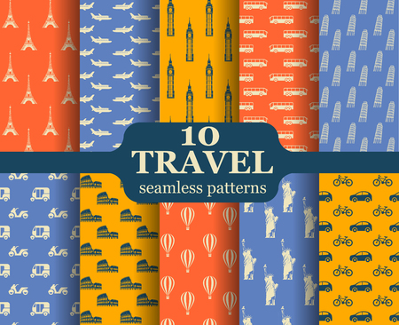 Cute set of seamless patterns with different landmarks and transports