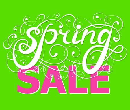 Spring sale calligraphy on a green background