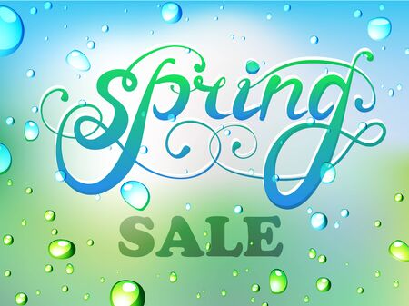 Spring sale calligraphy on the background of water drops
