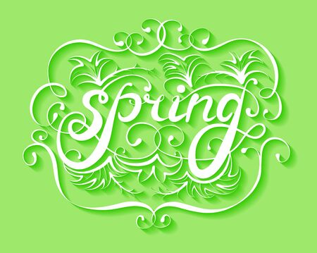 Spring handwriting ornament on green  background