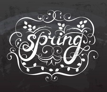 White spring ornament calligraphy on a black background Ilustração