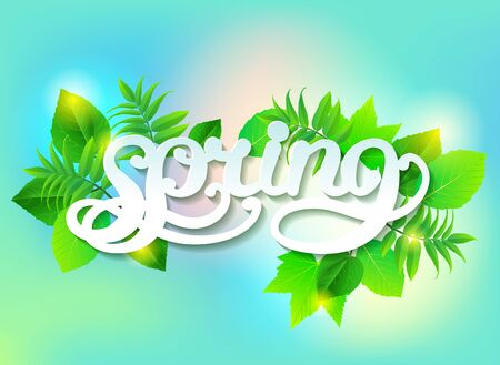 Spring calligraphy on a background of different green leaves Ilustração