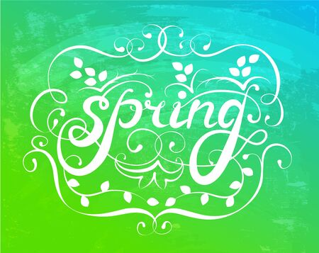 Spring ornament calligraphy on a colorful background