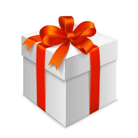 Gift box tied with red ribbon with a bow