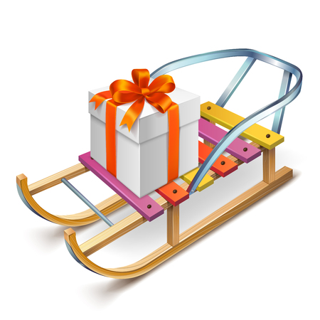 Wooden sled with a big gift box on it Ilustração