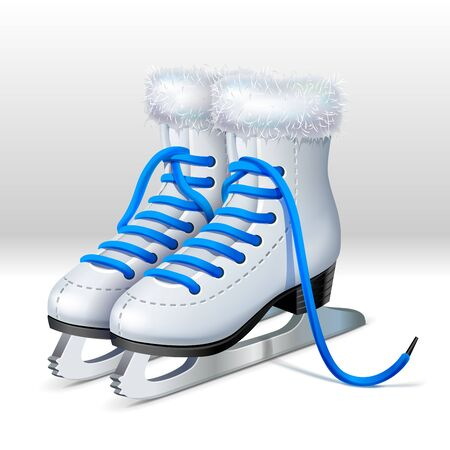A pair of skates with blue laces and fur on the top Ilustração