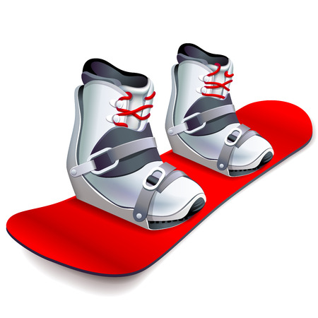 Snowboard with boots on it vector illustration Ilustração