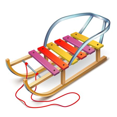 seating: Wooden sled with a rope and a back seating
