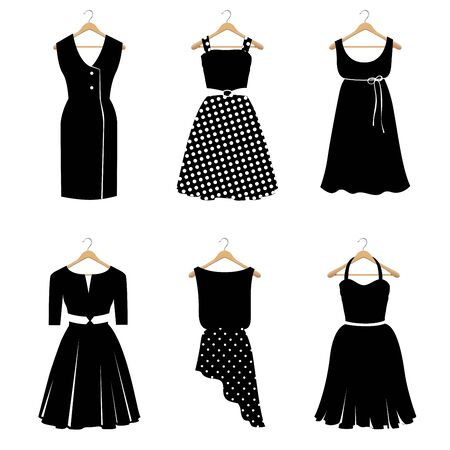 Set of Six Elegant Black Dresses