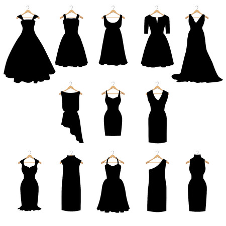 Thirteen silhouettes of different dresses Ilustrace