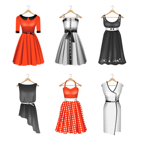 Six colored silhouettes of different dresses on a white background