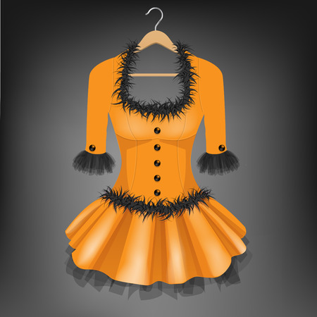Orange dress with black fur on hanger illustration.