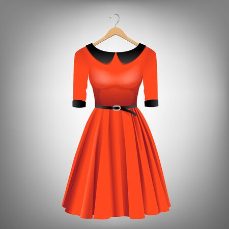 Red dress with black collar and belt on hanger illustration.
