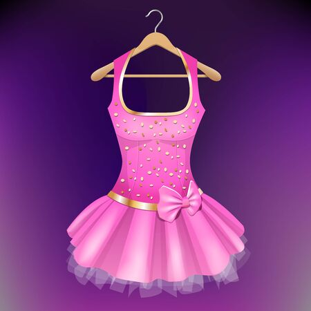 Pink Dress with bow on hanger illustration.