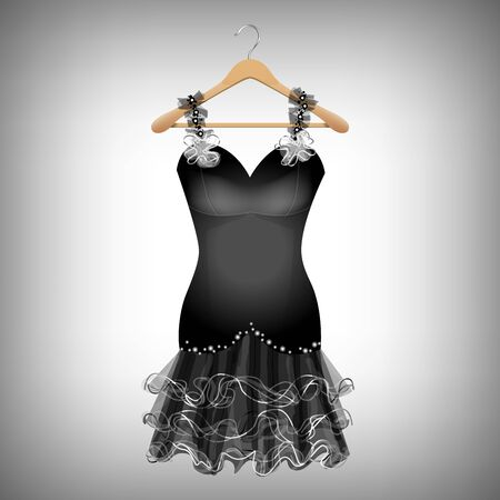 Little Black Dress on hanger illustration. Ilustração